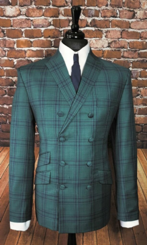 "The "" Buckingham"" Green & Navy Bold Check Double Breasted Jacket"
